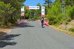 Lone cyclist La Vuelta España 2017 royalty free stock image