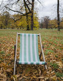 Lone deck chair Stock Photo
