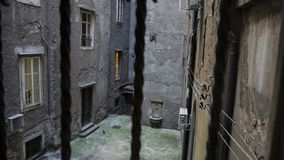 Lone and Empty Courtyard of old Houses in the Harbor City of Rijeka, Croatia stock photography