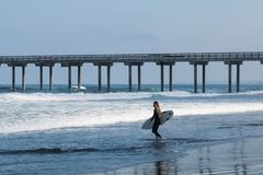 Lone Female Surfer Near Scripps Pier in La Jolla, California. LA JOLLA, CALIFORNIA/USA - APRIL 28, 2018:  A lone female surfer carries a surfboard out to sea Royalty Free Stock Images