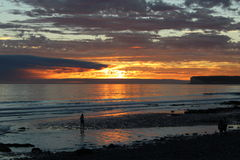 Lone Figure in the Sunset. Sunset @ Birling Gap, Nr Eastbourne, East Sussex stock photos