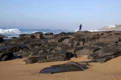 Lone Fisherman on Rocks at Ballito Beach Stock Image