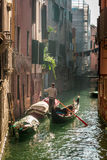Lone gondolier in Venice Floating Royalty Free Stock Image