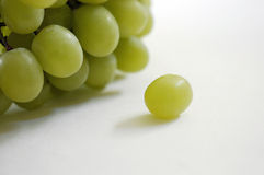 Lone grape. A single white or green grape sits alone on a white surface with a larger bunch behind Stock Image