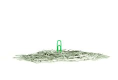 Lone green paperclip standing out in the crowd Stock Image