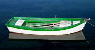 Lone green and white boat on a calm sea Stock Image