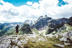Lone hiker enjoying the view. royalty free stock image