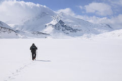 A lone hiker on the snow. Mont Cenis ( France ). Royalty Free Stock Photo