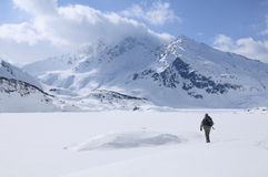 A lone hiker on the snow. Mont Cenis ( France ). stock photography