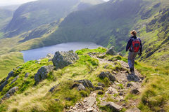 A lone hiker walking in the Lake District Royalty Free Stock Photography