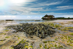 Lone island hut Royalty Free Stock Images
