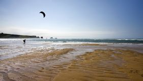 Lone kitesurfing Royalty Free Stock Photography