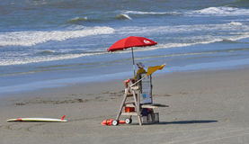 Lone Lifeguard watching ocean royalty free stock photos