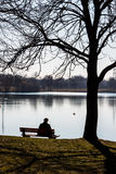Lone man at a lake Royalty Free Stock Photo