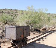 Lone Mine Car. Lone Rail Car on Mining Track in the old West Stock Image