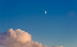 Lone month high in the sky. Stock Photography