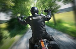 Lone Motorbike Rider Stock Photography