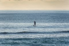 Lone paddle boarder on a calm sea in the afternoon. On a calm evening stock photography