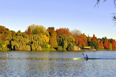 Lone paddler past Beautiful Autumn colors. Taken in the early morning as the sun rises. ALone paddler past Beautiful Autumn colors Royalty Free Stock Images