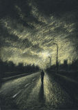 Lone passersby on the night road Stock Photography