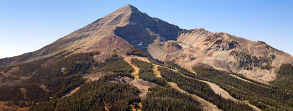 Lone Peak Panorama. A panorama of Lone Peak at Big Sky Resort, Montana in summer Royalty Free Stock Image