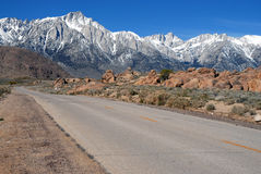 Lone Pine California and the Eastern Sierra. Sierra Nevada Range on Whitney Portal Road stock images