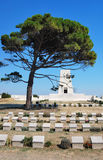 Lone Pine Memorial at Gallipoli in Turkey. The Lone Pine Memorial at the Gallipoli Battlefields in Turkey, surrounded by tombstones Stock Photography