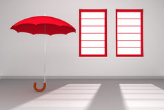 Red Umbrella in a white Room with Windows Stock Images