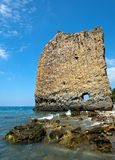 Lone rock at the Black Sea coast Royalty Free Stock Images