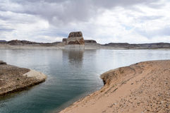 Lone rock in Lake Powell, Arizona Stock Photo