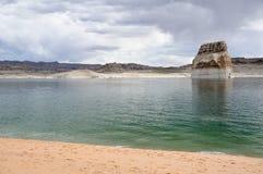 Lone rock in Lake Powell, Arizona Royalty Free Stock Photos