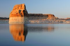 Lone Rock Sunset. In Lake Powell, Page, Arizona Royalty Free Stock Photography
