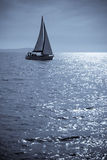 Lone Sailboat. Lone yacht sailing in the Adriatic sea. Doutone image Royalty Free Stock Photos