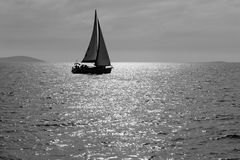 Lone Sailboat Royalty Free Stock Photo