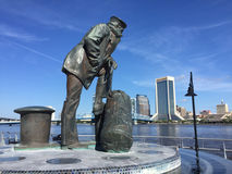 Lone Sailor Statue, Jacksonville, FL. The Lone Sailor Statue overlooks the St. Johns River in Jacksonville, Florida.   (2016 Royalty Free Stock Image