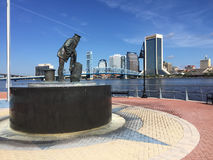 Lone Sailor Statue, Jacksonville, FL. The Lone Sailor Statue overlooks the St. Johns River in Jacksonville, Florida. (2016 royalty free stock photography