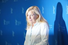Lone Scherfig attends a press conference stock photos