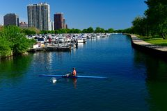 A Lone Sculler Royalty Free Stock Photography