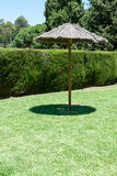 Lone shade umbrella on a green lawn. Lone old thatched shade umbrella on a green lawn with a carefully trimmed green hedge to ensure privacy for anyone wishing stock images