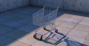 Lone shopping cart Royalty Free Stock Photography