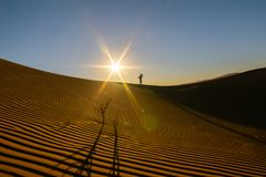 Lone silhouette figure of photographer. On ridge above wind formed ripples and shadow defined edges in dunes of Hidden Vlei at sunrise Sossusvlie Namibia stock photography