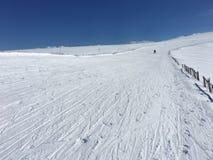 Lone single skier on alpine ski resort during recession royalty free stock photos