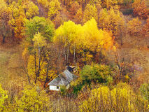 Lone small house in autumn forest Royalty Free Stock Image