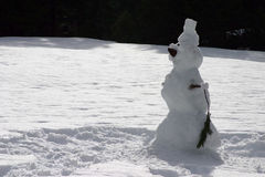 Lone snowman in the field. Lone snowman a field of snow with the forest in the backgroun Stock Photo