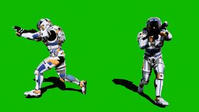 A lone soldier of the future runs with weapons on a green screen background. 3D Rendering royalty free stock image