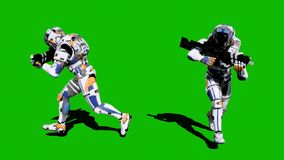 A lone soldier of the future runs with weapons on a green screen background. 3D Rendering stock photos