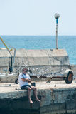Lone spectator sailing competitions in the Black Sea in Bulgaria Royalty Free Stock Images