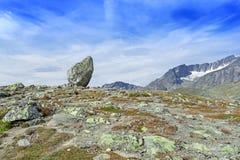 Lone standing rock at Besseggen Ridge Royalty Free Stock Photos