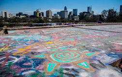 Lone Star State Austin Texas Cityscape Skyline from the top of Graffiti in Austin Hearts of We Love you Bernie Royalty Free Stock Photography