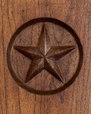 Lone Star of Texas. Symbol engraved in wood Stock Photo